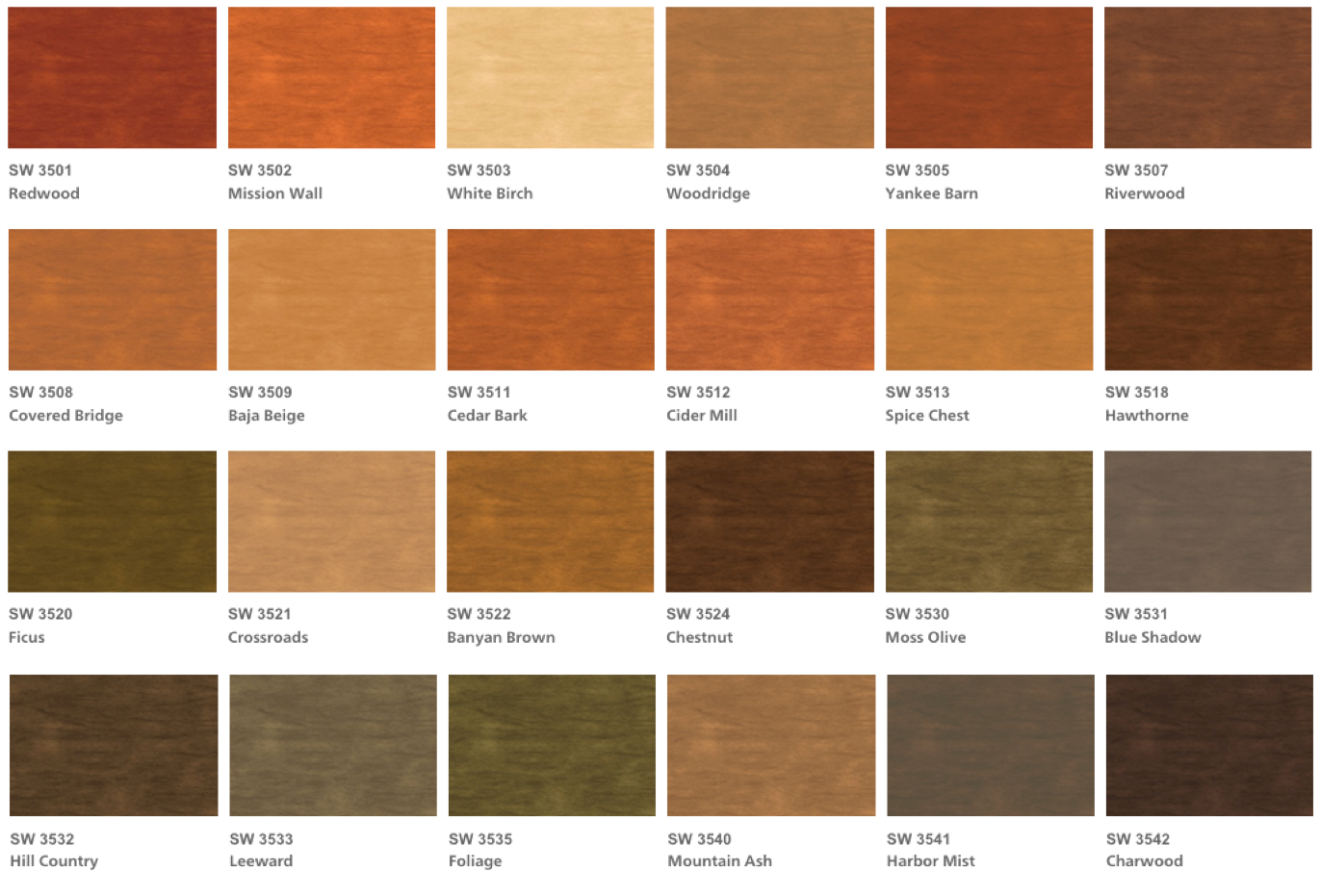The available siding colors for Cripple Creek Cabins.
